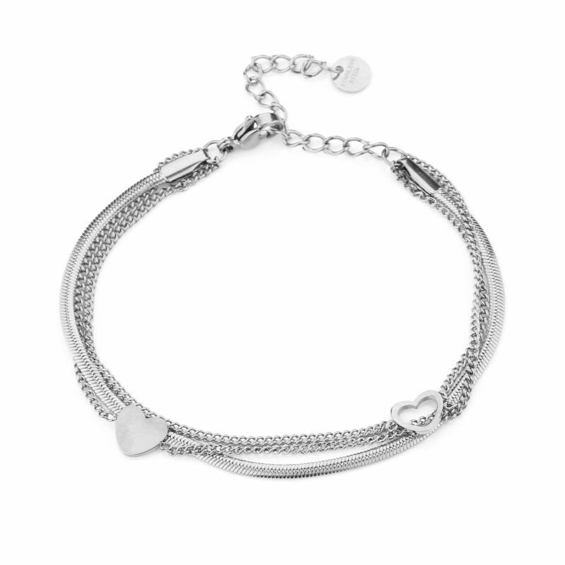 Armband - Double Hearts - Zilver
