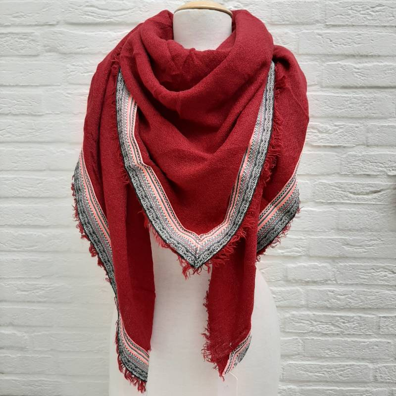 Sjaal winter colour rows rood