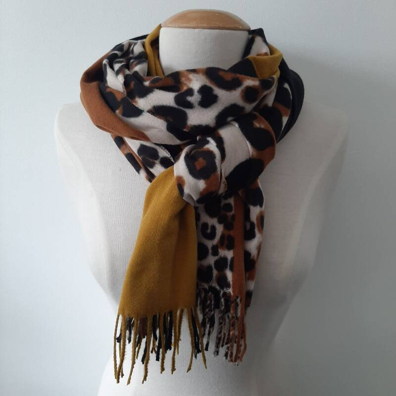 Sjaal winter - mix print / geel