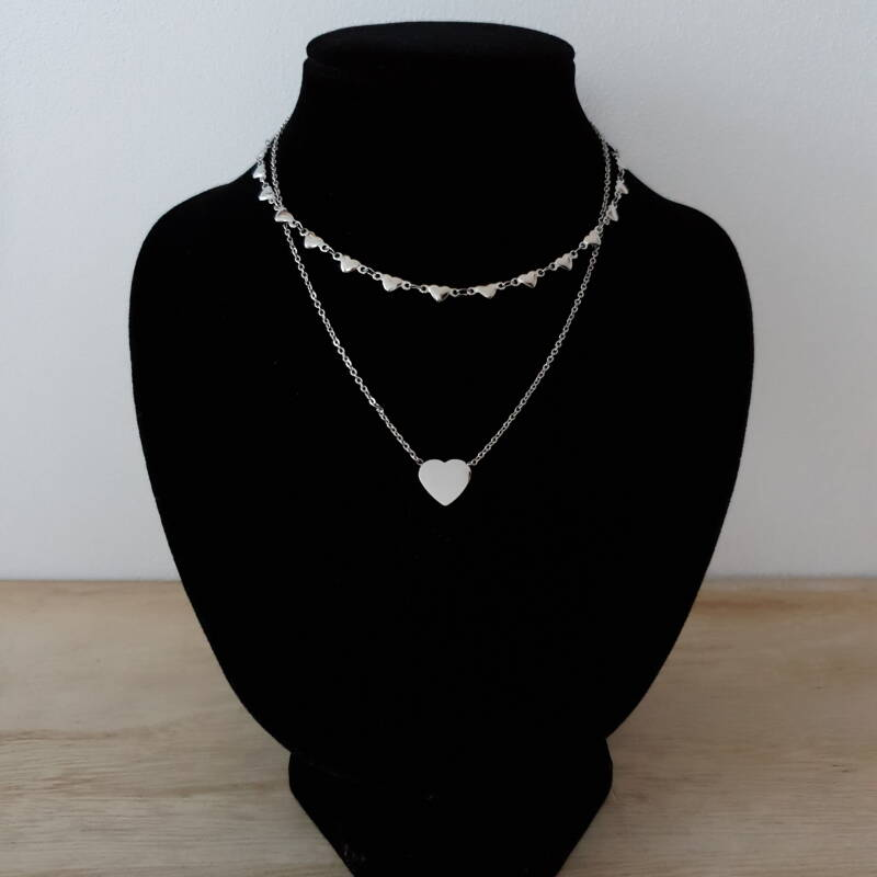 Ketting - two layers - hartje / zilver