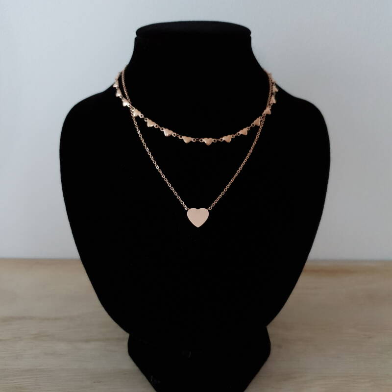 Ketting - two layers - hartje / rosé