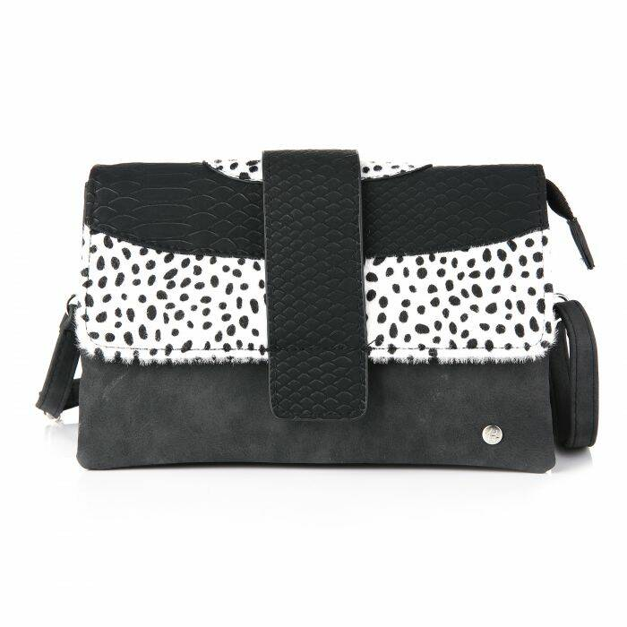 Crossbody bag - snake/cheetah - zwart/wit