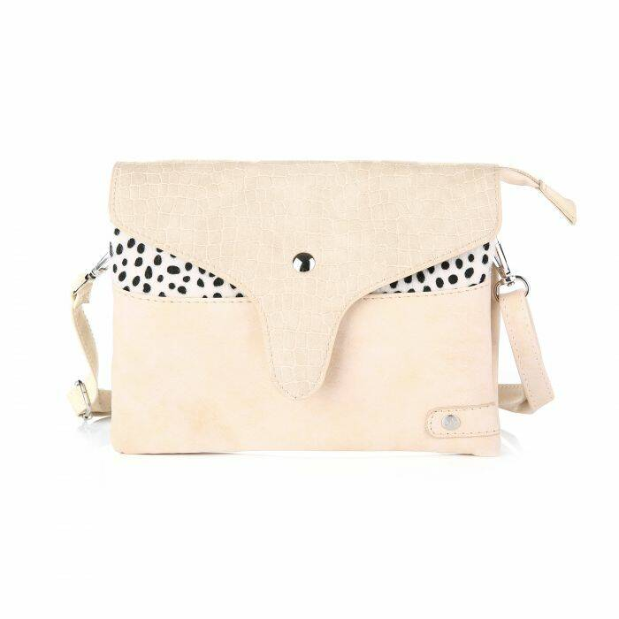 Crossbody Tas - Croco Flap / Cheetah - Beige