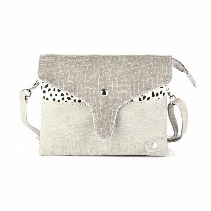 Crossbody Tas - Croco Flap / Cheetah - Grijs