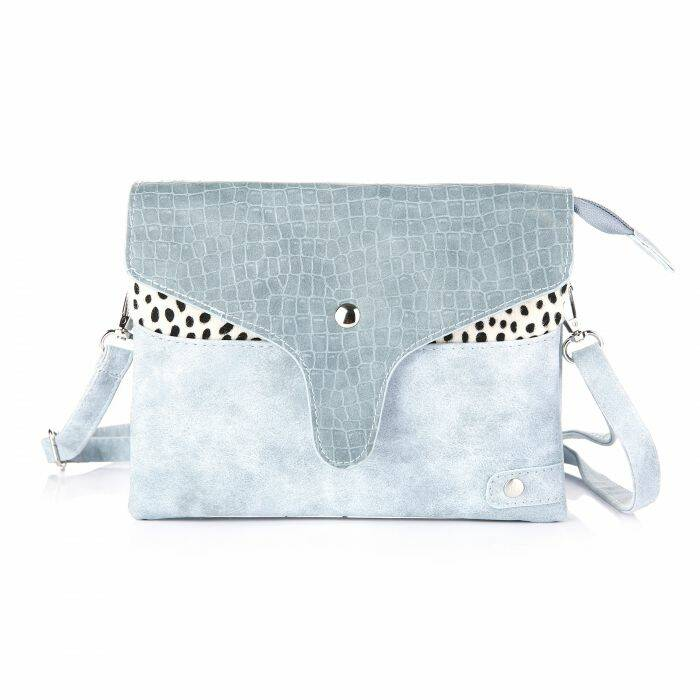Crossbody tas - croco flap/cheetah - blauw