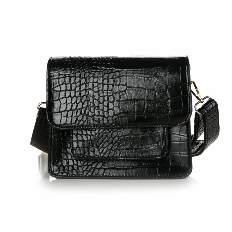 Crossbody tas - croco - zwart
