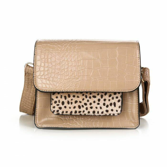 Crossbody tas - croco/cheetah - beige