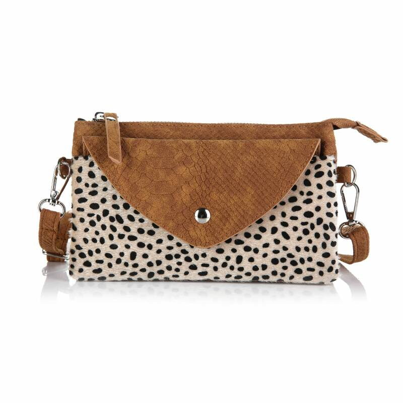 Crossbody Tas - Met Driehoek Flap - Cheetah / Snake Print - Camel