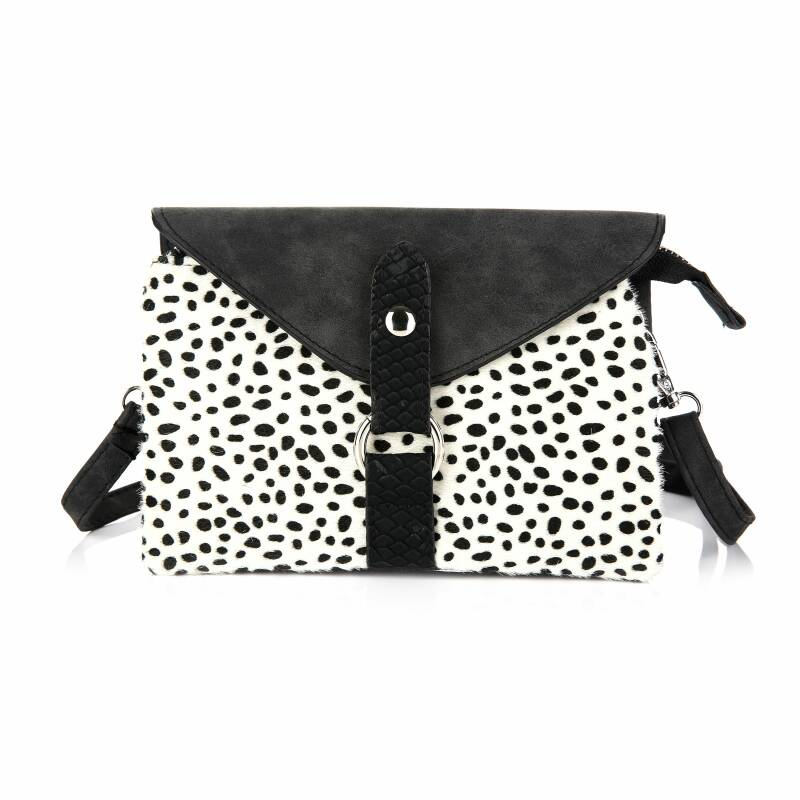 Crossbody Tas - Met Flap - Cheetah Print - Zwart / Wit