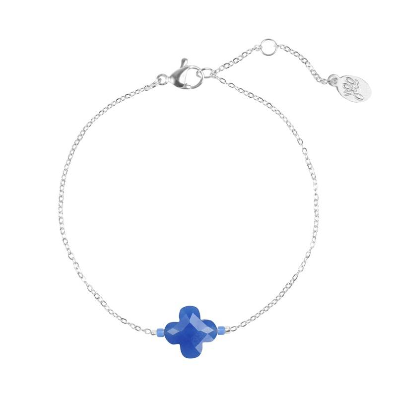 Armband one blue clover - zilver