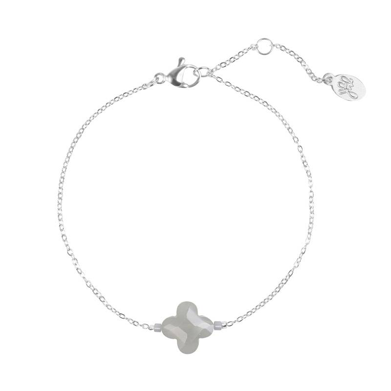 Armband one grey clover - zilver