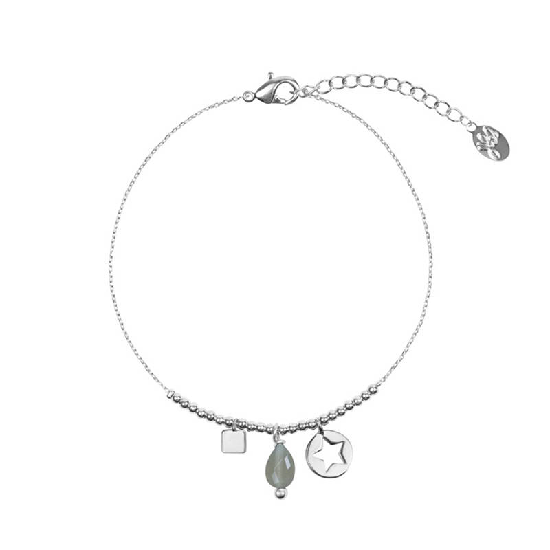 Armband stone & details - zilver