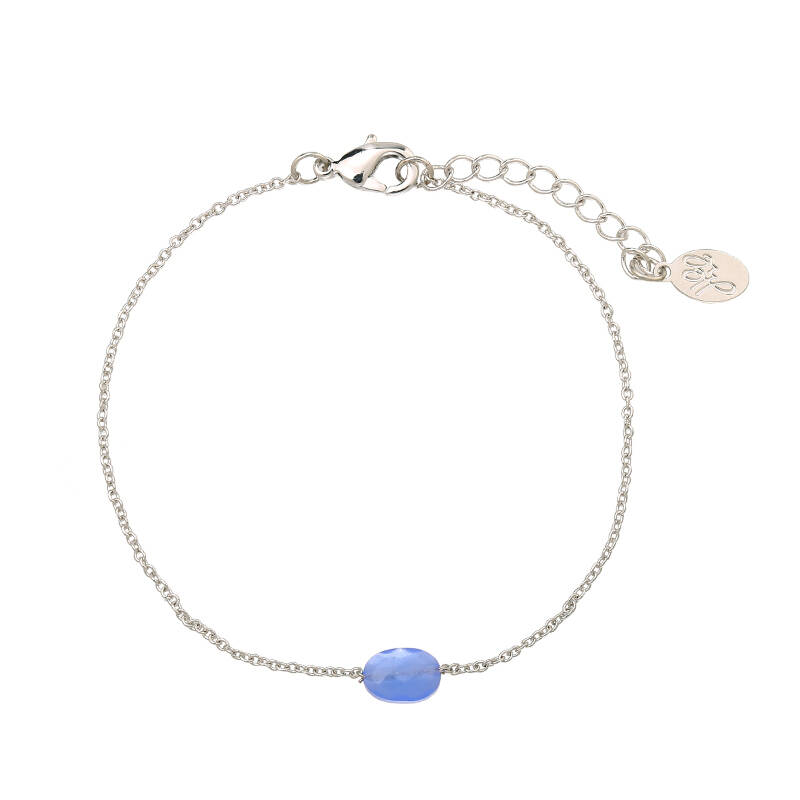 Armband summer blue stone - zilver