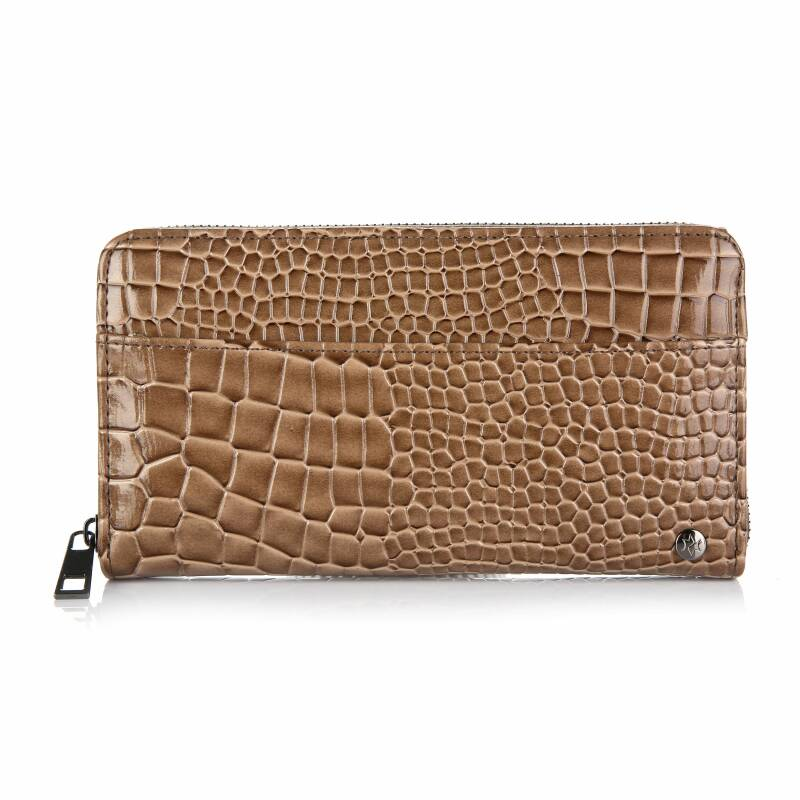 Portemonnee - luxe - glimmende croco print - camel