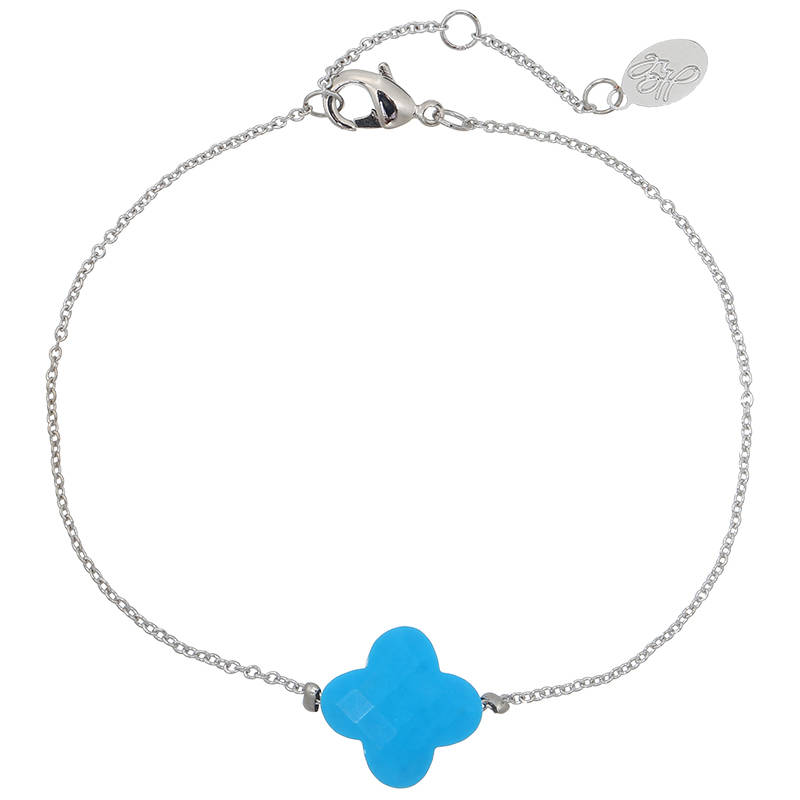 Armband beautiful blue clover - zilver