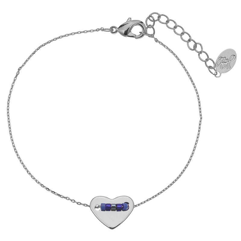 Armband pretty beads heart - zilver