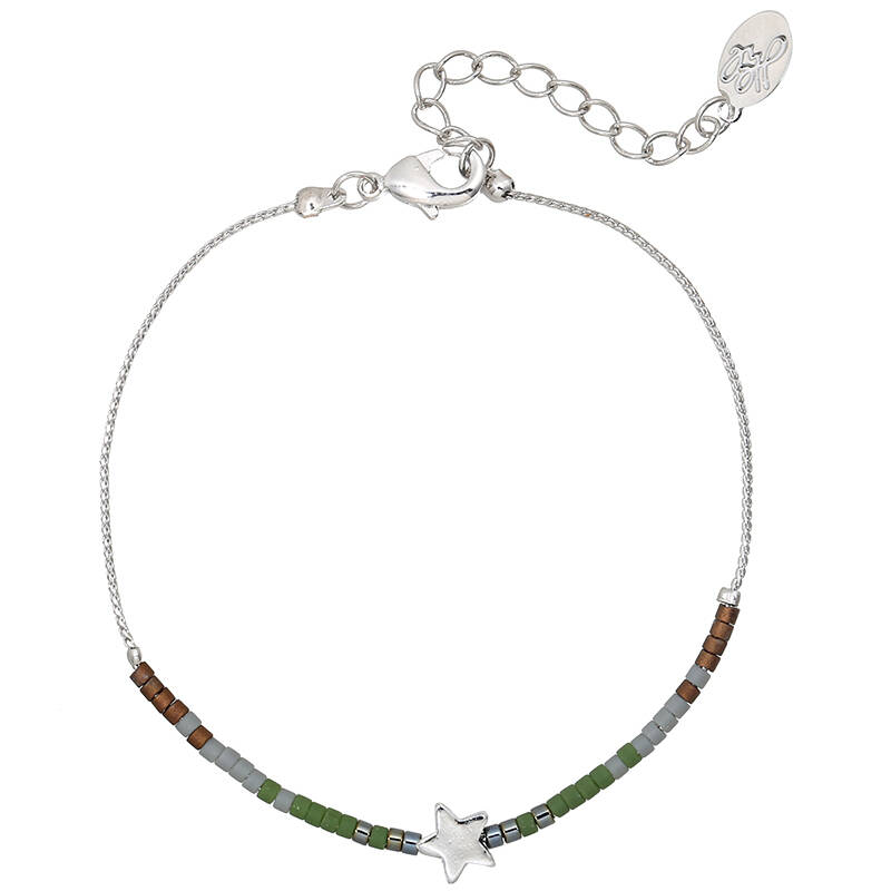 Armband star beads - zilver