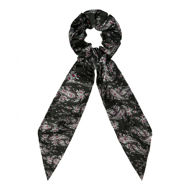 Scrunchie with ribbon flower black