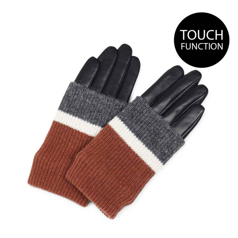 GLOVE Black w. Chestnut, Offwhite, Grey