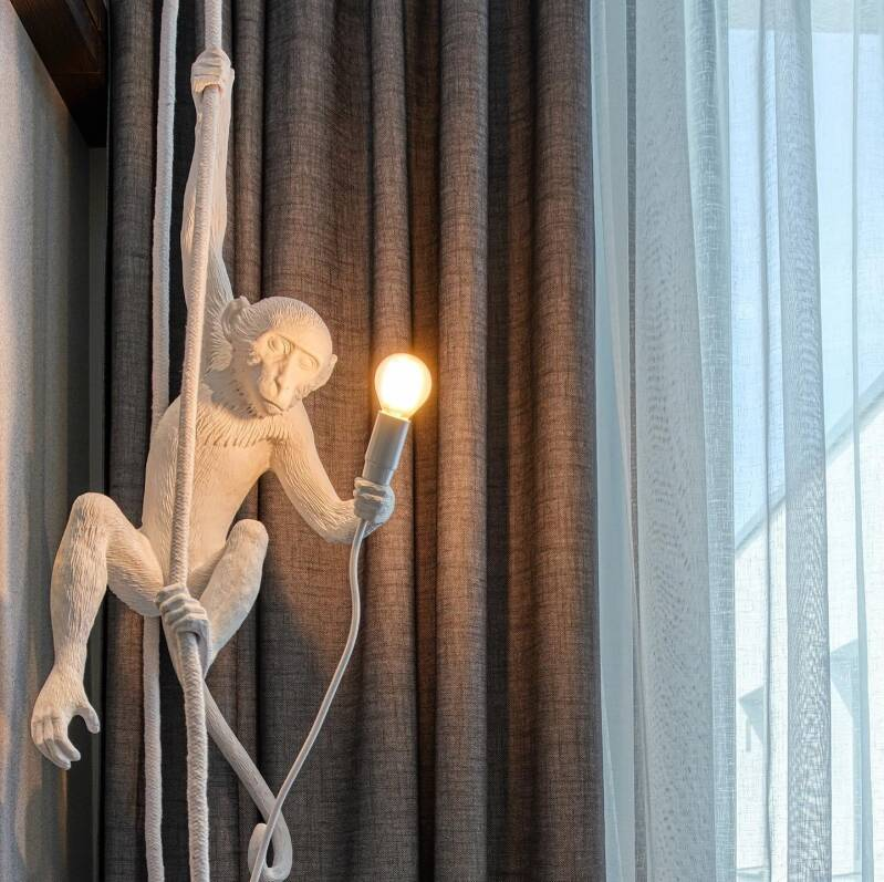 Monkey Lamp CEILING with rope, white