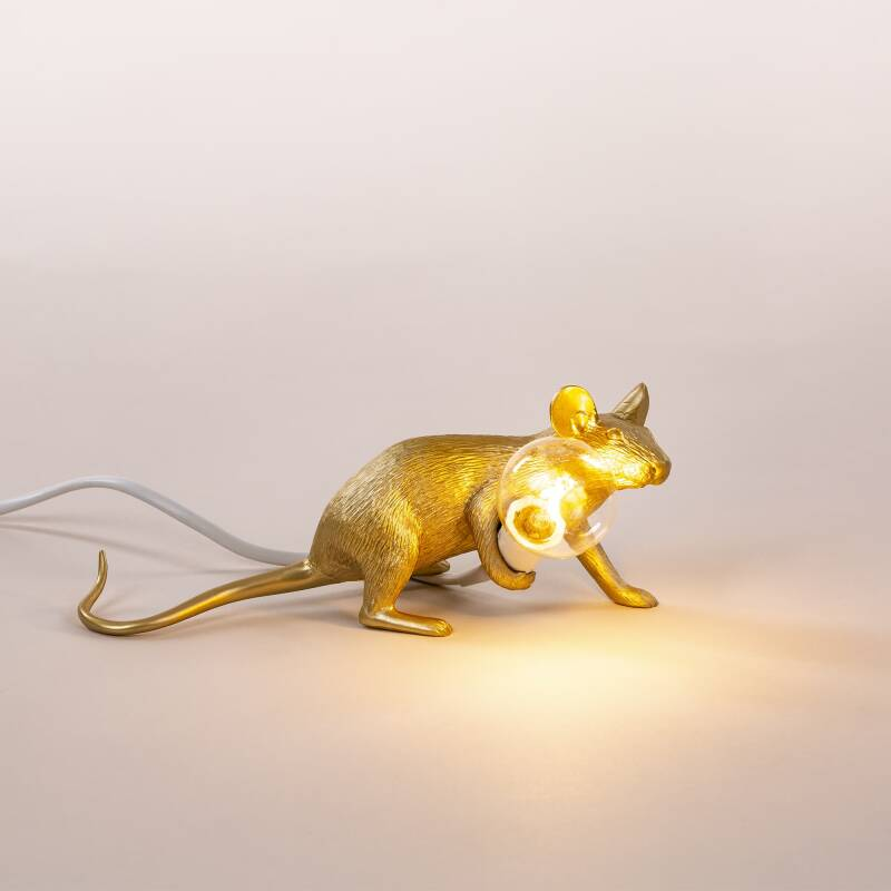 Mouse lamp LYING DOWN, gold