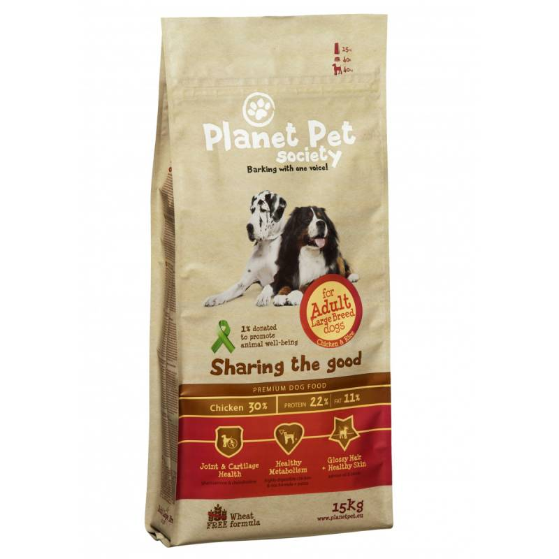 Planet Pet Dog Adult Large Breed - Kip & Rijst - 15 kg.