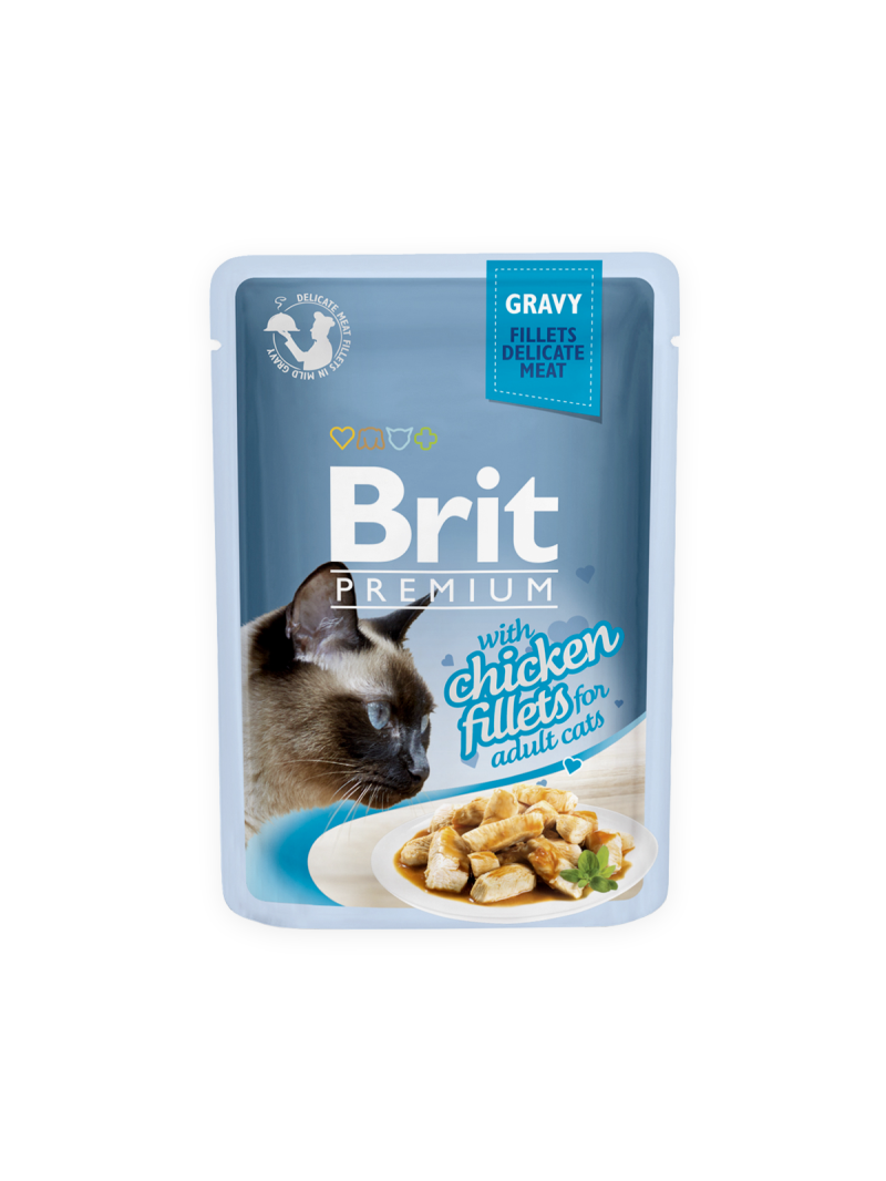 Brit premium chicken fillets in gravy pouche - adult