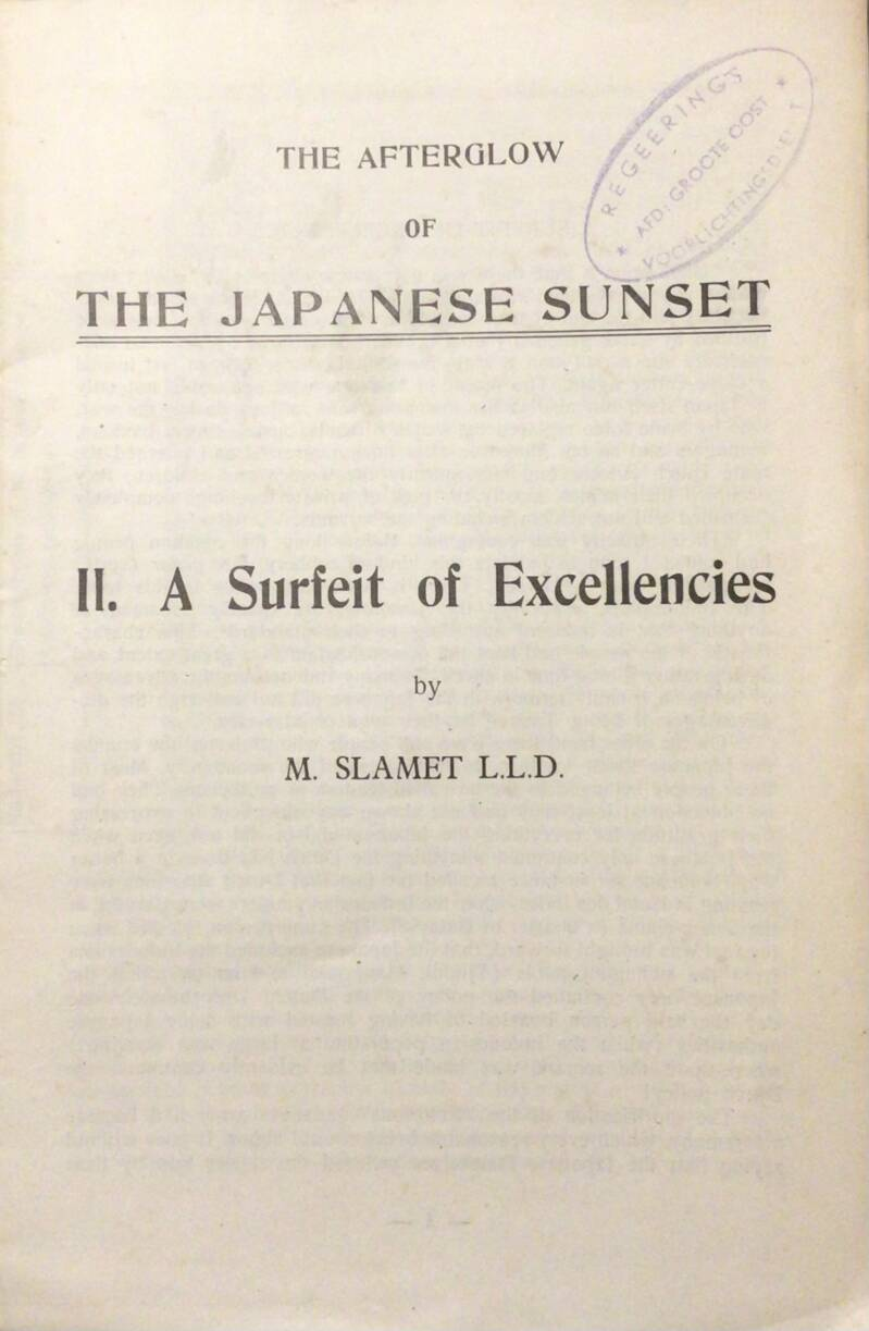 The Afterglow of The Japanese Sunset II A Surfeit of Excellencies - M. Slamet