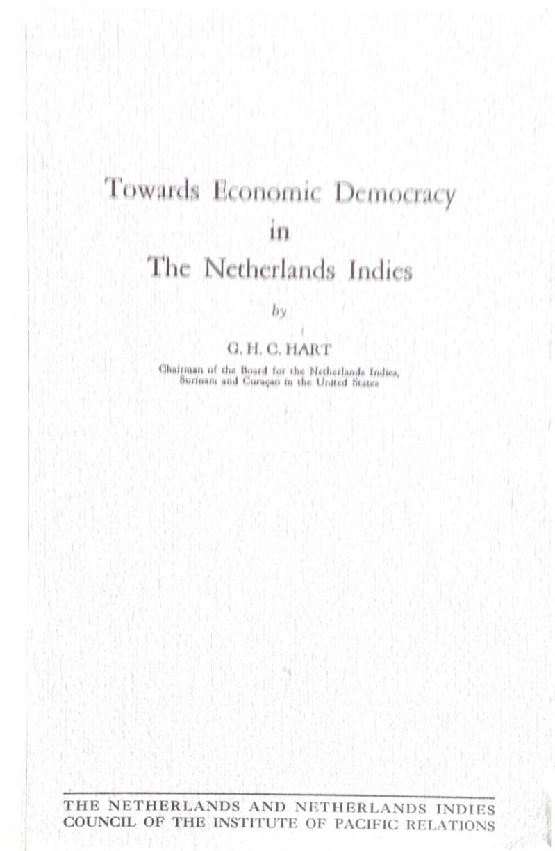 Towards Economic Democracy in the Netherlands Indies - G.H.C. Hart