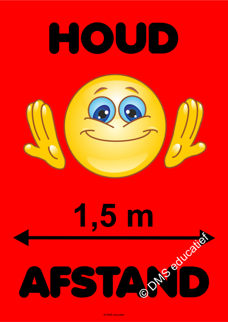 Poster 'Houd afstand smiley' (rood) A3