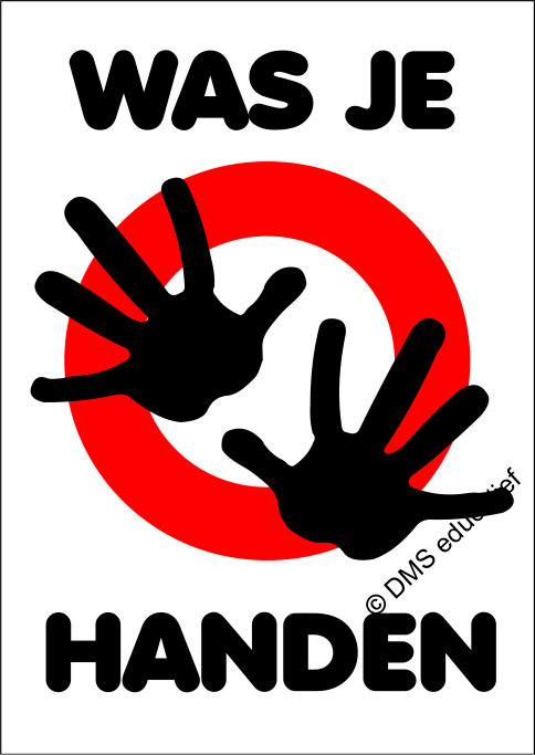 Poster 'Was je handen' (wit) A3