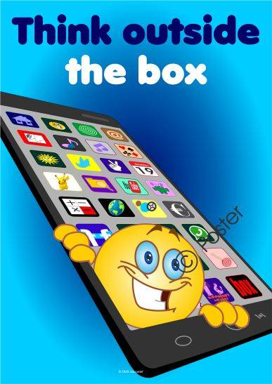 Poster over de smartphone 'Think outside the box' A3