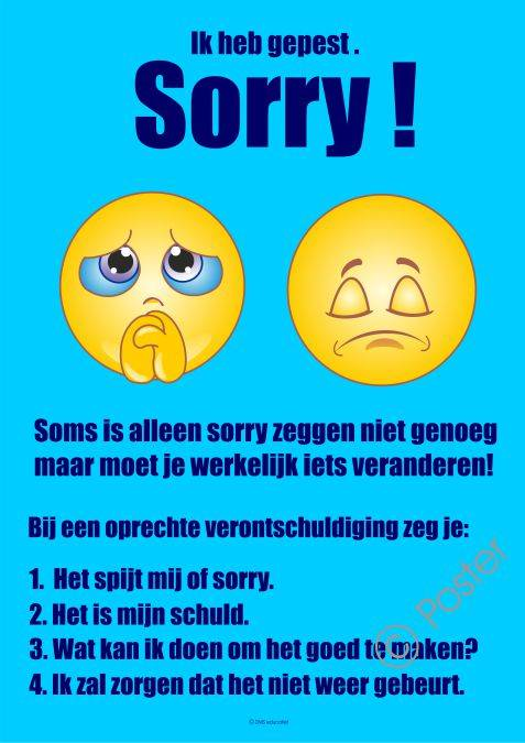 Poster 'Ik heb gepest. Sorry!' A3