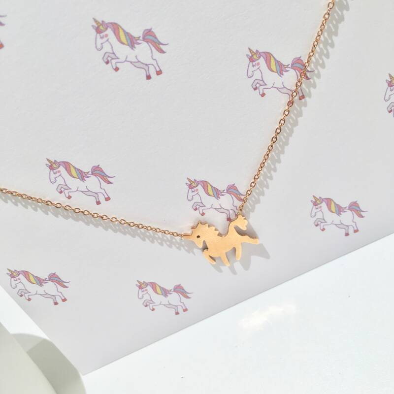 ketting rosé unicorn roestvrijstaal
