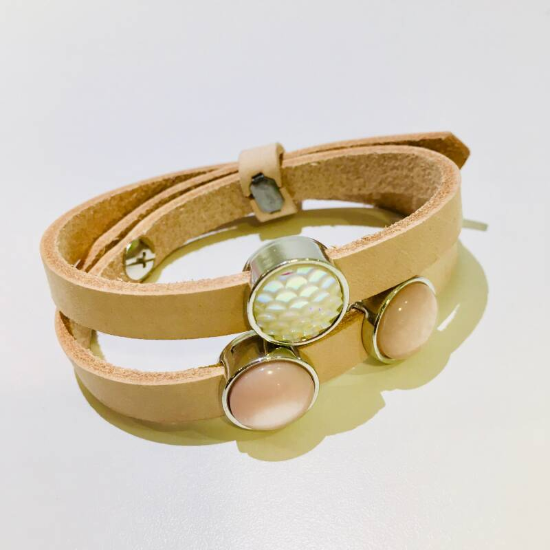 Cuoio armband licht roos