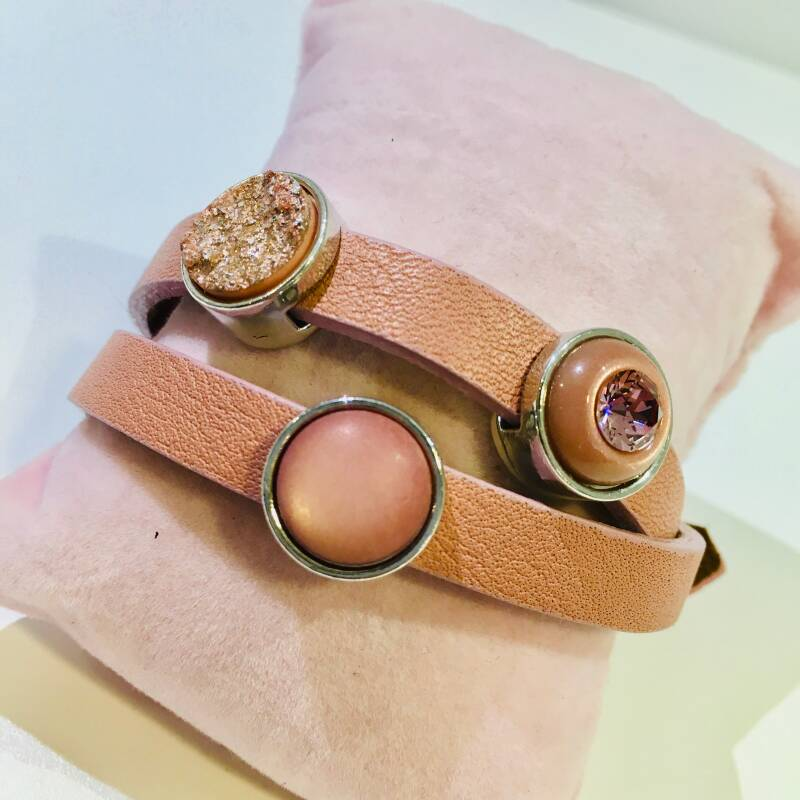 Cuoio armband oud roos