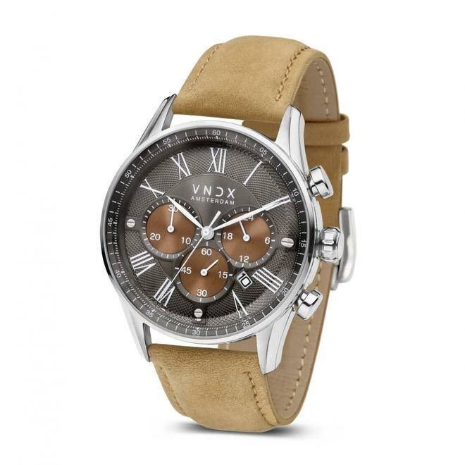 Horloge VNDX The Boss Two-Tone met beige leren band