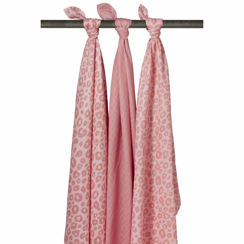 Meyco Swaddles Panter Pink 120x120 3 pack