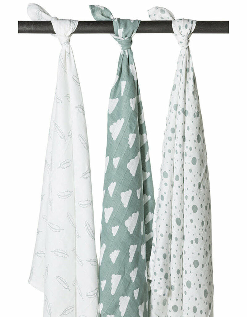 Meyco Swaddles Feathers Clouds Dots Stone Green
