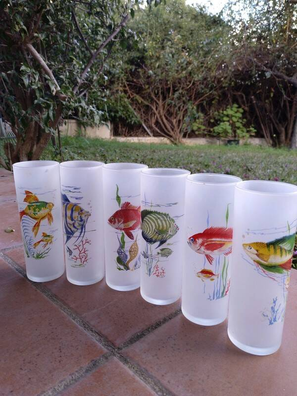 Lovely set of 6 tall frozen glass drinking glasses , fishes pattern, 70s