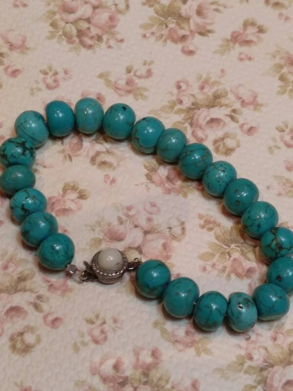 Beautiful bracelet made of natural raw turquoises beads, 60s