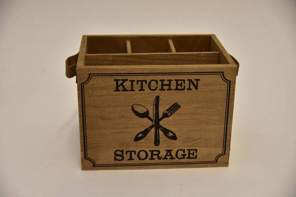 "Bestekbakje hout ""Kitchen storage"" leren greep"