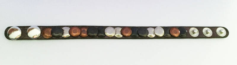 Armband studs taupe/zilver