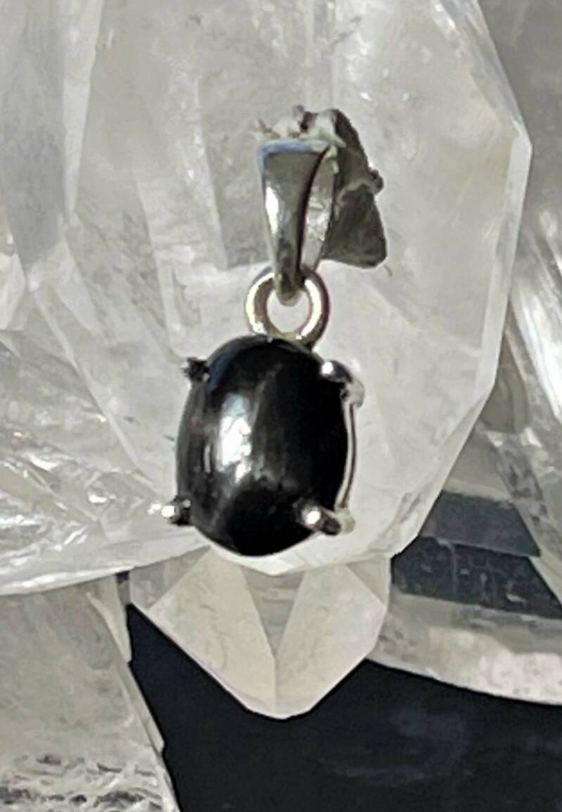 Black Star of Ster Diopsied Hanger Cabochon ovaal klein