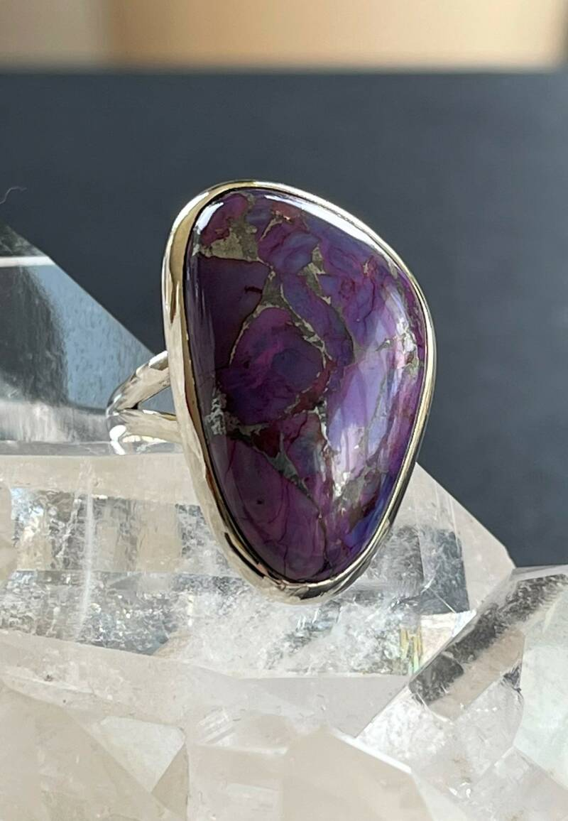 Zink Turkoois Ring Cabochon Free Form, maat 17,4