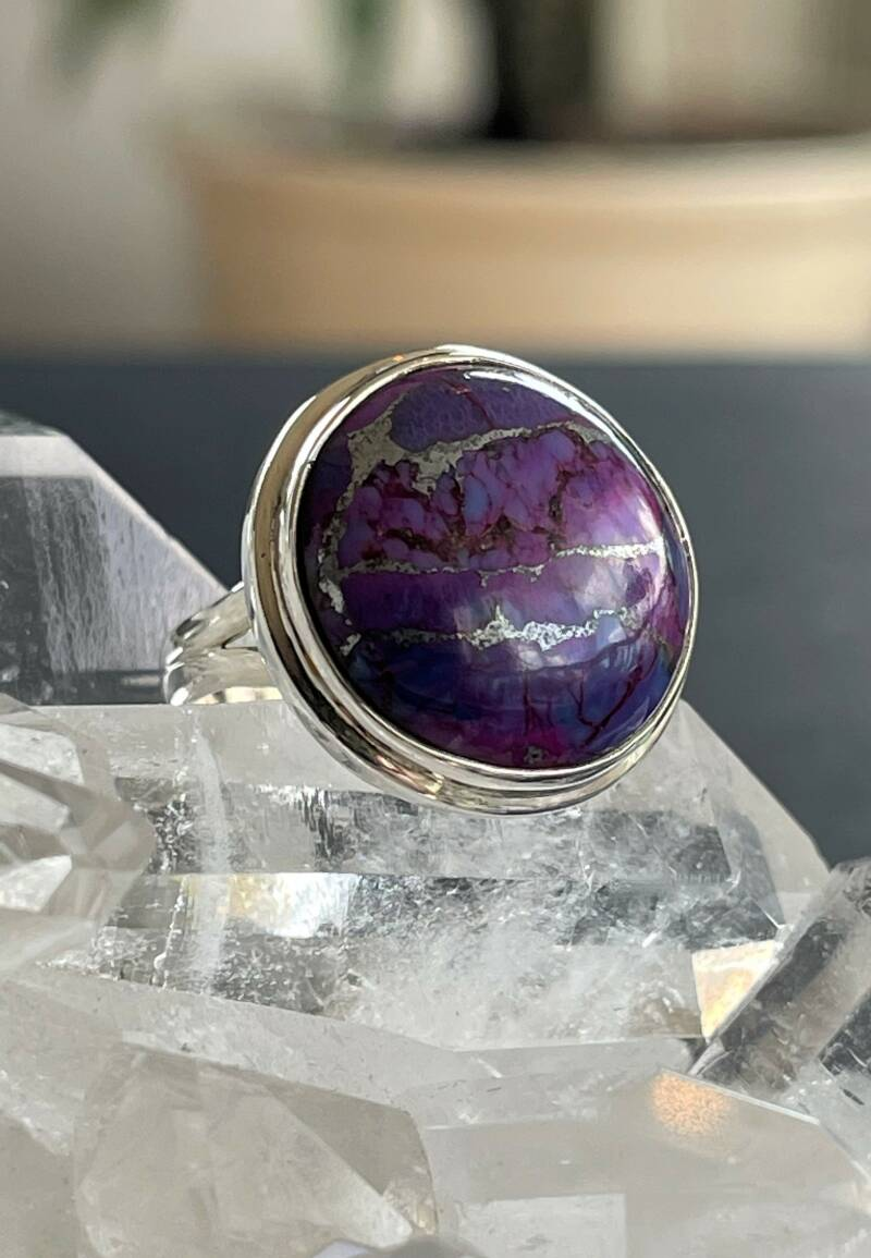 Zink Turkoois Ring Cabochon rond, maat 17,1