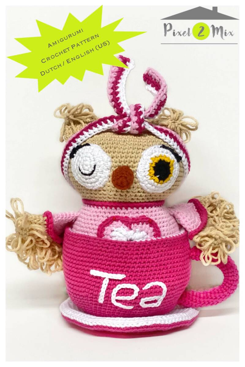 Olivia * The Little Owl in a Tea Cup * A5 Booklet Crochet Pattern