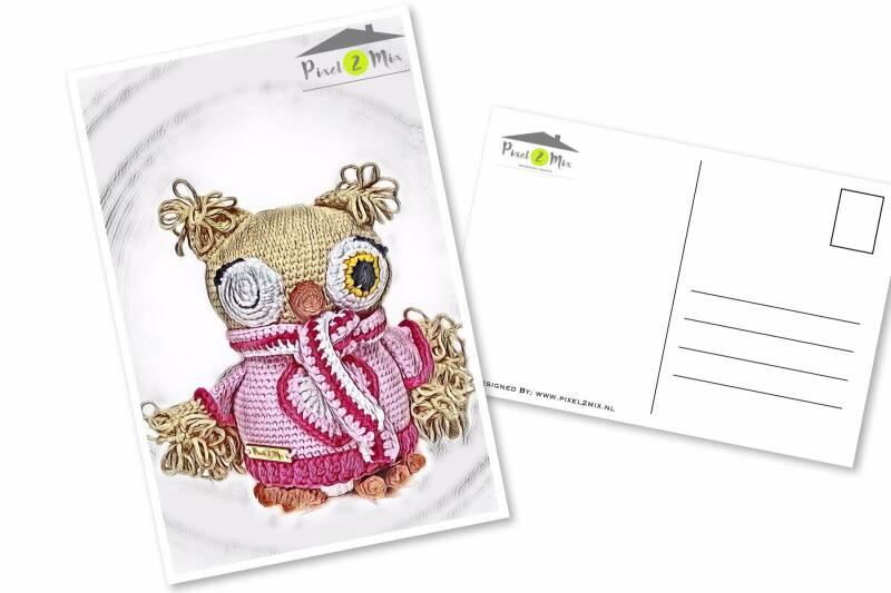 Olivia * The Little Owl with scarf * Postcard (1)