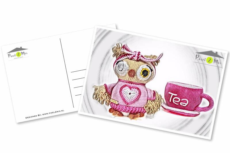 Olivia * The Little Owl and Tea Cup * Postcard (4)