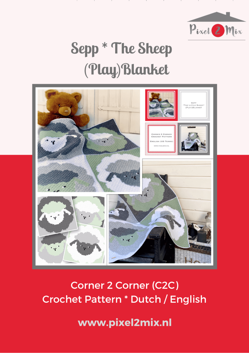 Sepp * The Little Sheep - (Play)Blanket - A5 Booklet / 4x A4 Charts - C2C Crochet Pattern